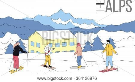 Concept Of Skiing, Winter Tourism. Group Of People Skiing In Alps. Beauitiful View On Mountains With