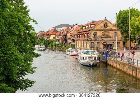 Little Venice At The River Regnitz In The Old Town Of Bamberg, Germany