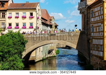 Bridge Of The River Regnitz In The Old Town Of Bamberg, Germany
