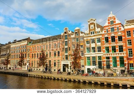 Cityscape At A Canal In Amsterdam, Netherlands
