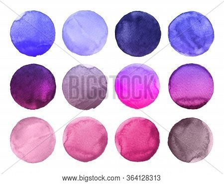 Set Of Colorful Watercolor Circles Isolated On White. Watercolor Illustration For Artistic Design. R