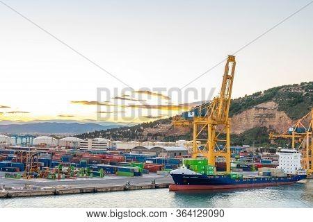 Barcelona, Spain - November 06 2018: Johanna Schepers Jsv Cargo Vessel Container Ship, Renamed Exper