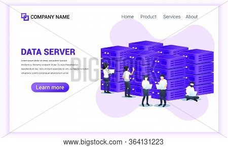 Data Server Concept. Server Room, Data Center And Database. People Working On Laptop Managing Files
