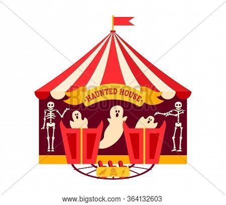 Halloween Haunted House Flat. Cartoon Design Horror House, Scary Ghost Night Party. Summer Outdoor K