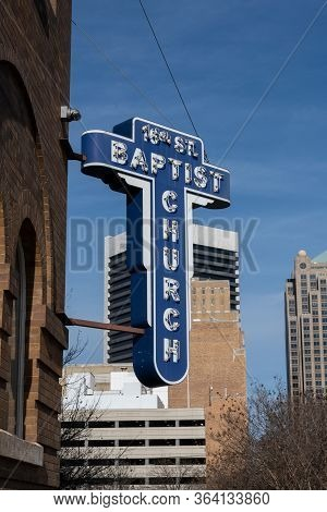 Birmingham, United States: February 15, 2020: 16th Street Baptist Church Sign Marks Civil Rights Tra