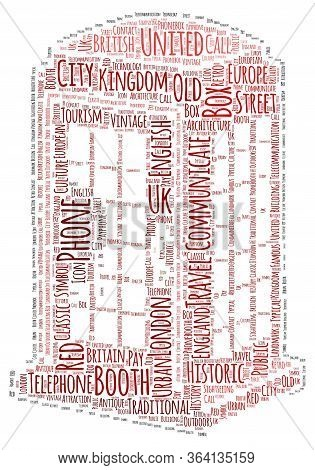 English Telephone Booth Word Cloud Art Poster Illustration
