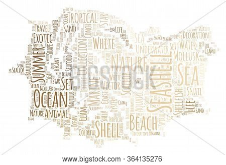 Seashell And Seashore Word Cloud Art Poster Illustration