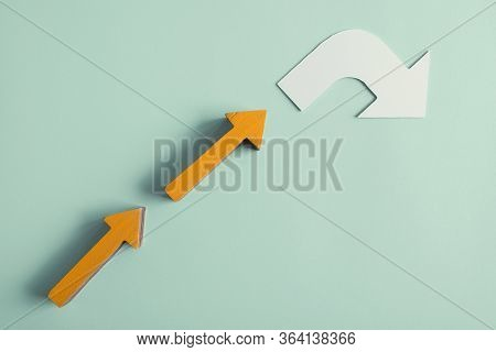 White Arrow Turning Direction, Disruptive Inovation And Change Business Concept, Managing Impacts Of