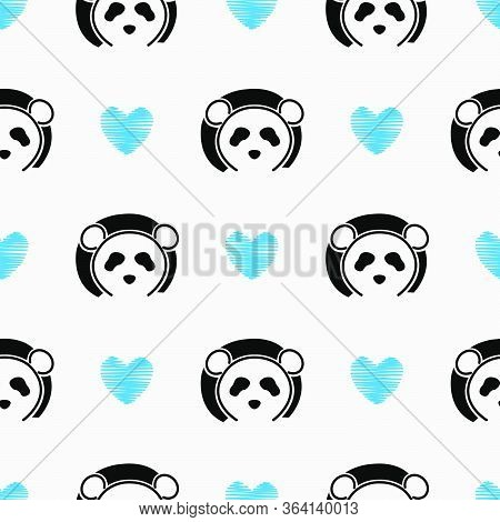 Panda Cute Face Seamless Pattern.  Happy Cute Panda  Head Repeat Pattern With Blue Love White Backgr