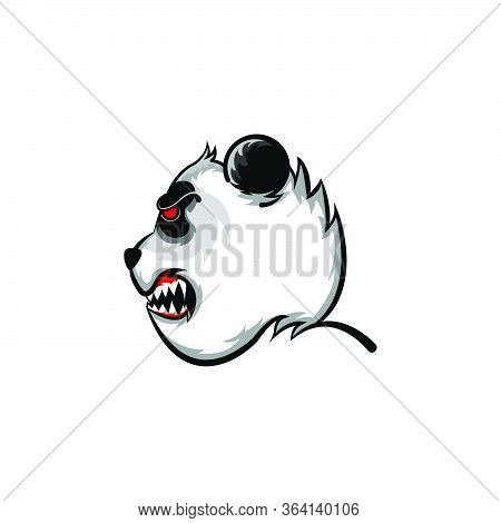 Panda Fierce Face Side View Logo Mascot. Bear Vector Panda Isolated  Cartoon Character Doodle Illust