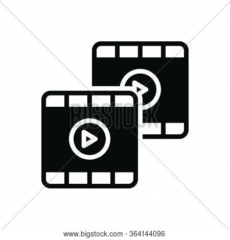 Black Solid Icon For Footage Video Film Stock Footprint Film-strip