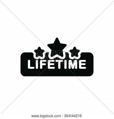 Black Solid Icon For Lifetime Tag Badge Label