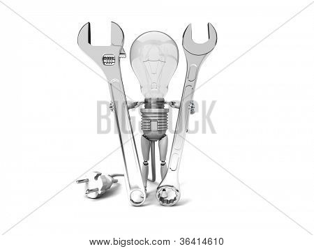 """The robot """"bulb"""" Holds in a hands tools isolated on a white background"""