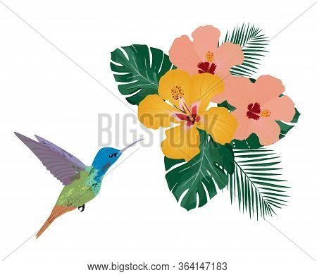 Vector Illustration Of A Tropical Background. Hummingbird, Tropical Flowers, Palm Leaves. Wall Decal