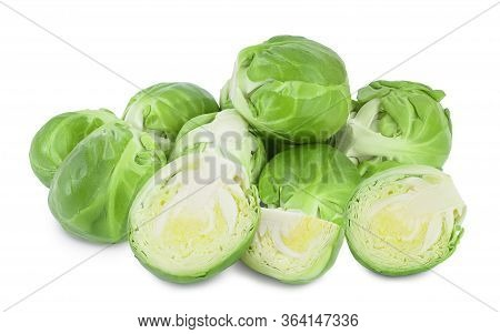 Brussels Sprouts And Half Isolated On White Background With Full Depth Of Field