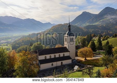 Fribourg,switzerland-october 23,2019:the Chuch Near The Gruyeres Castle On The Top Hill Is The Most