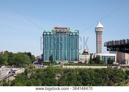 Niagara Falls, New York - June 12,2018: The Modern Big Hotel Near The Niagara Waterfalls  New York ,