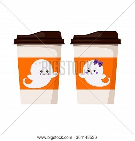 Halloween Ghosts On Paper Coffee Or Tea Cup To Go Icon Set Isolated On White Background. Flying Ghos