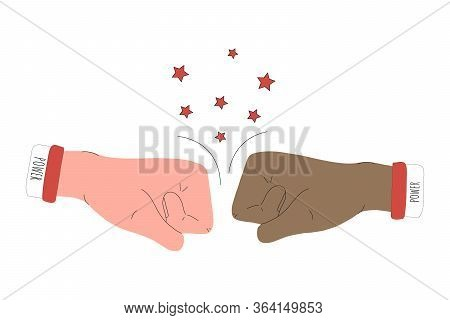 Two Fists Facing Each Other. Two Hands Hit Each Other In The Air, Knocking Out Stars. Vector Illustr