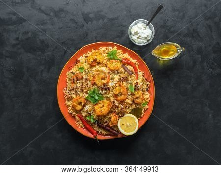 Traditional Indian Biryani With Shrimp. Tasty And Delicious Prawns Biryani, Top View.