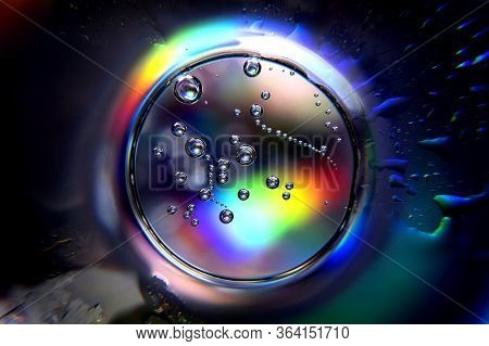 Abstract Ball With Spectrum Colors And Air Bubbles. Colorful Abstract Circle With Bubbles. Abstract