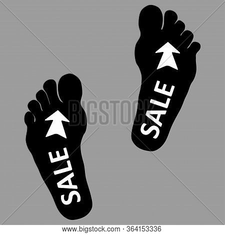 Footpath Human Footpath. Barefoot Prints With The Inscription Sale. Abstract Concept, Icon Set. Vect