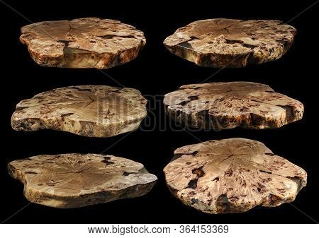 Six Solid Elm Countertop. Wood Surface Cross Section Of Elm Tree. Live Slab. Isolated On A Black. Wo