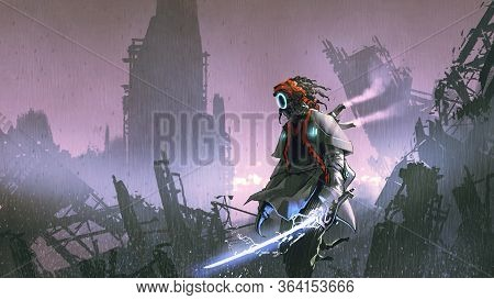 Robot With Glowing Sword Standing Alone In The Apocalyptic City, Digital Art Style, Illustration Pai