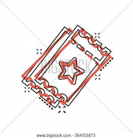 Cinema Ticket Icon In Comic Style. Admit One Coupon Entrance Cartoon Vector Illustration On White Is