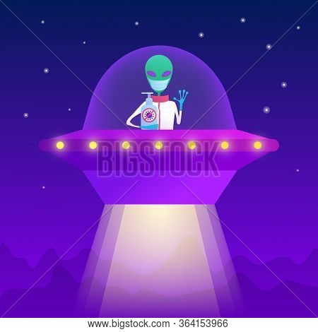 Friendly Alien Holding Bottle Of Antiseptic In Spaceship At Night. Green Humanoid With Big Eyes Sitt