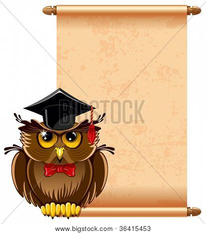 Cartoon wise owl in graduation cap and scroll paper. There is place for your text.