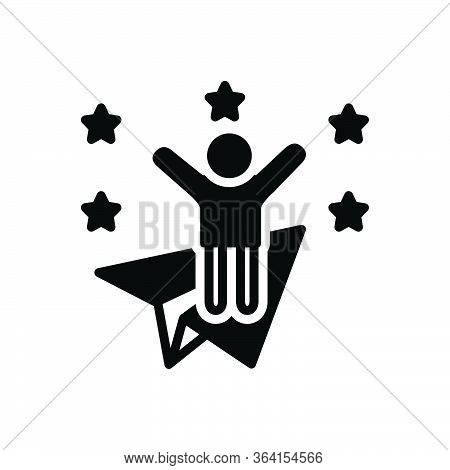 Black Solid Icon For Ambitious Joyful Wishful Appetent Happy