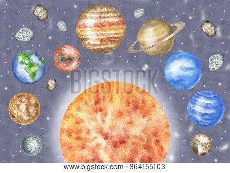 Illustration Solar System: Sun, Mercury, Venus, Earth, Mars, Jupiter, Saturn, Uranium, Neptune, Plut