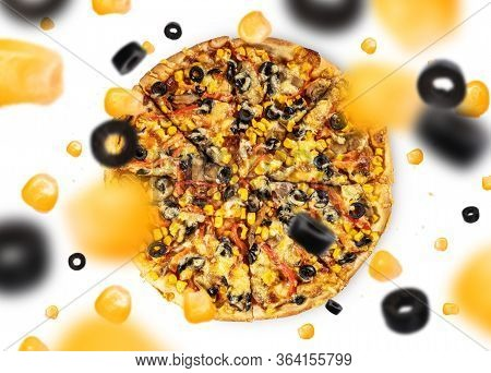 Traditional Italian Fresh Baked Pizza With Copy Space For Design Or Text, Ideal For Restaurant Menu