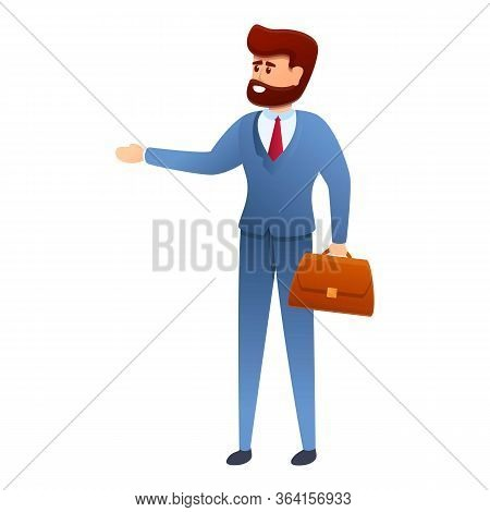 Entrepreneur With Bag Icon. Cartoon Of Entrepreneur With Bag Vector Icon For Web Design Isolated On