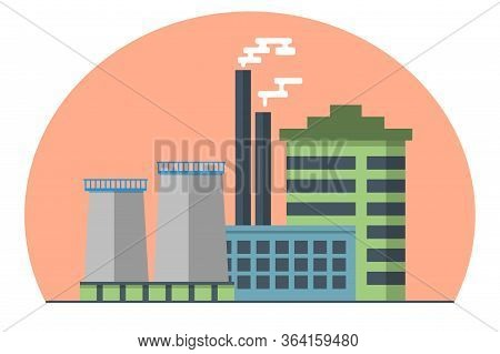 Industry Factory Industrial Pollution With Smoke In Environment, Factory With Toxic Air. Stock Vecto