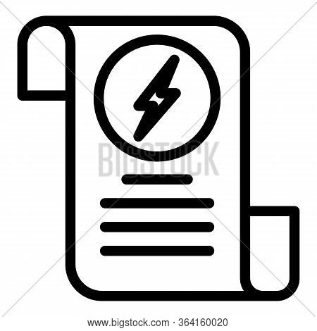Electricity Bill Icon. Outline Electricity Bill Vector Icon For Web Design Isolated On White Backgro
