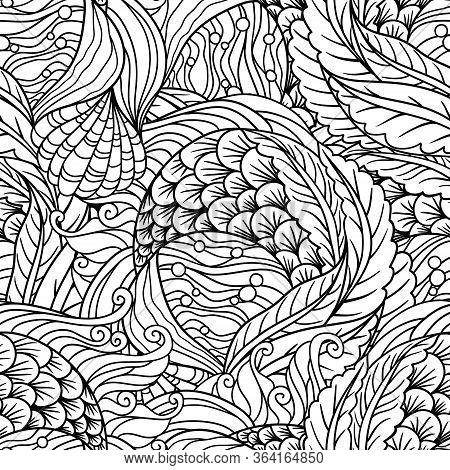 Abstract Undersea Flora Seamless Pattern, Scale, Seaweeds, Flippers Decorative Waves Vector Backgrou