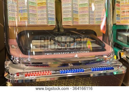 Parma, Italy - October 2019: Details Of Retro Jukebox: Music And Dance In The 1950s.