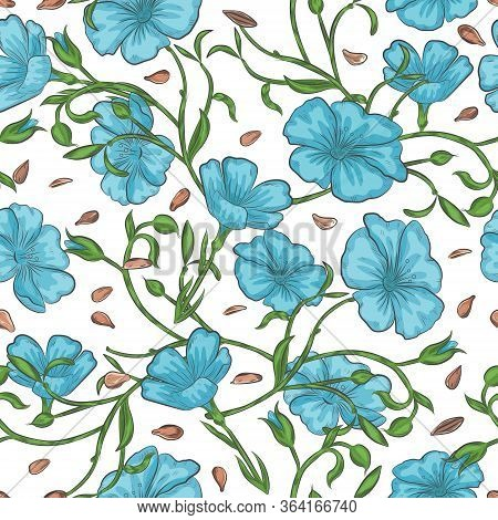 Flax Seed And Blooming Floral Seamless Pattern. Blue Flax Flowers And Seeds Endless Background.