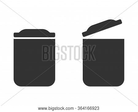 Isolated Trash Bin, Opened And Closed. Garbage Recycle Can Illustration. Dustbin Sign For Waste In B