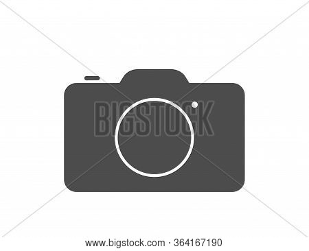 Photo Camera Illustration In Black And White In Flat Design. Picture And Snapshot Digital Photocamer