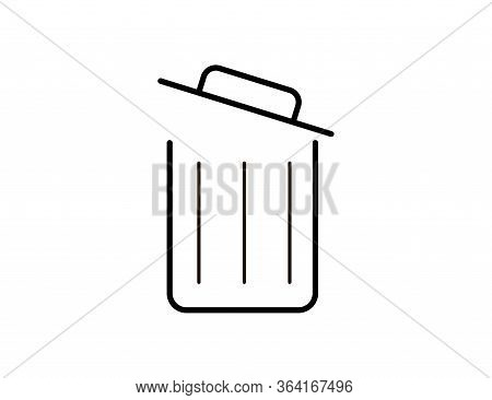 Opened Trash Bin Icon For Garbage And Rubbish. Isolated Illustration Of Recycle Dustbin In Flat. Was