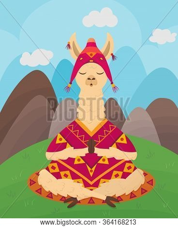 Сute Llama With Closed Eyes Sits And Meditates In Lotus Position Against Backdrop Of Mountains And H