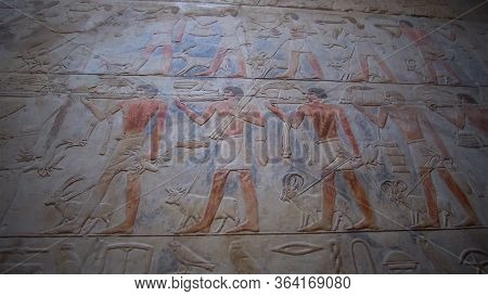 Egypt Color Paint Hieroglyphic  Abundance Of Niles River People With Food And Farming