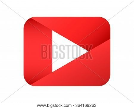 Play Media Button In Red. Video Player Icon With Gradient And Shadow. Pause Multimedia Isolated Play