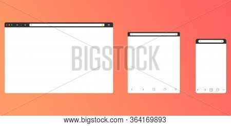 Browser Mockup For Computer, Tablet And Smartphone. Modern Design Of Internet Page In Flat Layout. N