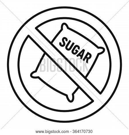 No Sugar Sack Icon. Outline No Sugar Sack Vector Icon For Web Design Isolated On White Background