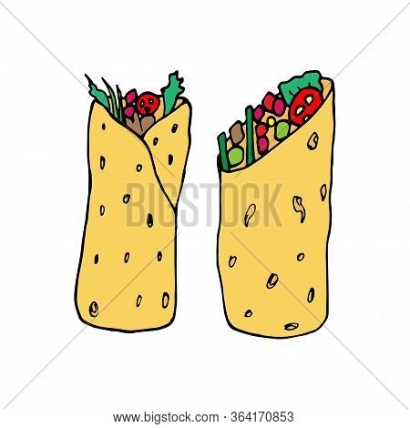 Burrito - Mexican Traditional Food. Fast Food. Hand Drawn Sketch Doodle. Vector Color Illustration F