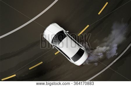 Cars Top View Realistic Composition With Asphalt Road Curve And Drifting Automobile With Steam From